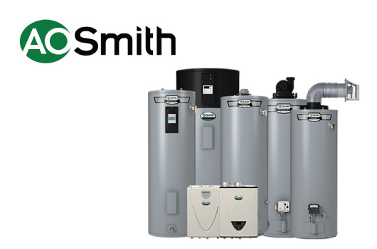AO Smith Logo and group of AO Smith Water heaters